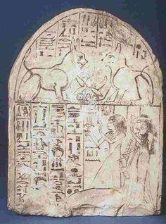 Stele anonyme aux deux chats, XIX° dynastie, 1295-1186 av. J.C., calcaire peint