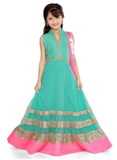 Green net K and U #anarkali suit