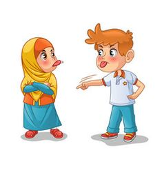 Muslim girl and boy mock each other by showing their tongues cartoon character design vector illustration, isolated against white background. Character Design Challenge, Character Design Sketches, Character Design Cartoon, Character Design Animation, Design Alien, Boy Crying, Angry Child, Anime Muslim, Art Anime