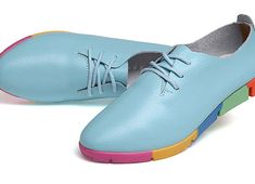 Mixed Colors 2017 New Genuine Women Flats Soft Bottom Lace-up Pointed Deep Mouth Leisure Flat Colorful Shoes 4 Color Off White Shoes, White Casual Shoes, Blue Shoes, Women's Shoes, Leather Flats, Leather Sneakers, Womens Shoes Wedges, Womens Flats, Shoe Basket
