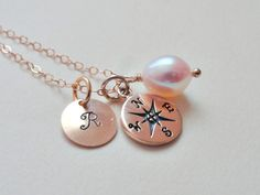 Personalized compass necklace GOLD FILLED by SimplyBrieDesigns, $31.00