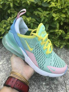 Womens Winter Nike Air Max 270 Casual Sneakers Green Pink Yellow White Nike Shoes Air Max Nike Air Max For Women Nike Air Max
