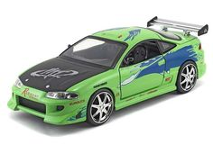 """Brian's Mitsubishi Eclipse Green """"The Fast And Furious"""" Movie 1/24 Diecast Model By Jada"""