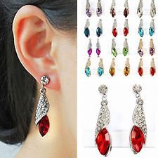 Lovely Crystal Shining Rhinestone Teardrop Dangle Earring Jewel Attractive stud