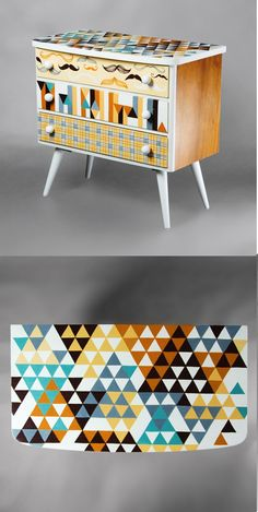 """Hand-painted Art PoPo chest of drawers """"With Mustache"""""""