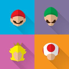 Super Mario Minimalist/Long Shadow Print