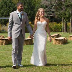 Roslin by Sophia Tolli.   Bride and groom mint farm wedding Michigan.