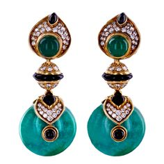 """Marina B. """"PNEU"""" Interchangeable Gemstone Earrings. Ear pendants are made from 18K yellow gold and feature pave-set round diamonds, rich onyx and green chalcedony. The large dangling composite turquoise bottom discs are interchangeable with the amethyst ones. Circa 1980s"""