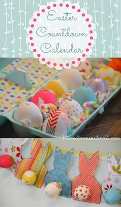 Bunny Easter Egg Countdown Calendar - Not eggs-actly sure why we are counting down to Easter - but I love the pattern idea for the bunnies and it would make a cute garland. Easter Countdown, Countdown Calendar, Hoppy Easter, Easter Bunny, Easter Eggs, Spring Crafts, Holiday Crafts, Holiday Fun, Holiday Ideas