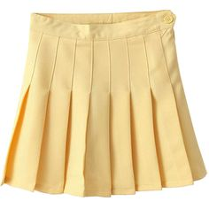 Pleated High-rise Tennis Skirt ($30) ❤ liked on Polyvore featuring skirts, bottoms, clothes - skirts, yellow, yellow high waisted skirt, yellow pleated skirt, pleated skirt, high rise skirts and beige skirt