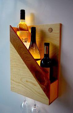 Items similar to Wine rack on Etsy - vinoteca - Schnaps Wine Glass Rack, Wood Wine Racks, Wine Rack Wall, Bottle Rack, Wine Bottle Holders, Wine Bottles, Wine Shelves, Wine Storage, Battery Powered Led Lights