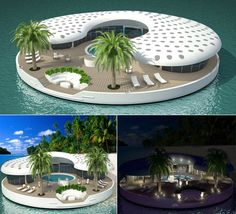 What we all may be living in if the oceans continue to rise: Aqua Domi floating houses and the Peter Thiel Floating Islands.