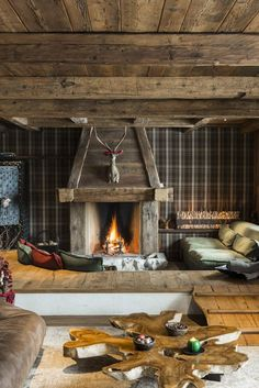 Detail of the livingroom ,Cà de Nani,Cortina d'Ampezzo LOVE THESE mountain interiors Cabin Fireplace, Rustic Fireplaces, Fireplace Design, Fireplace Mantels, Wooden Decor, Rustic Decor, Farmhouse Decor, Chalet Interior, Interior Decorating