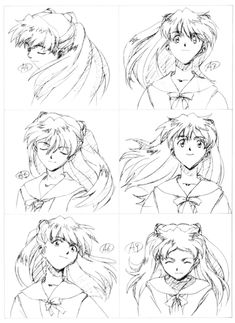 Keys of Asuka from Gainax's Evangelion (reads top to bottom, left to right) From Groundwork of Evangelion Animation Reference, Sketches, Character Art, Evangelion Art, Old Anime, Neon Evangelion, Evangelion, 90s Anime, Anime Pixel Art
