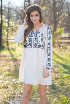 This dress is boho fan's dream!! It's made of linen and cotton so it's super breathable! Plus, that embroidery is absolutely fantastic!! This dress is truly one of a kind!  Material has no amount of stretch. Miranda is wearing the small. Sizes fit: Small- 0-4; Medium- 6; Large- 8-10