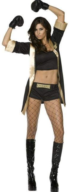 FANCY DRESS KNOCKOUT BOXING COSTUME / BOXER GIRL OUTFIT / BOXERS UNIFORM - SEXY 4 PC ADULT LADIES BOXERS COSTUMES , FIGHTER OUTFITS & SPARRING UNIFORMS - SPORT / SPORTS