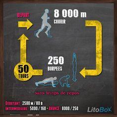 """Entraînement du CrossFit : 3 rounds """"for time"""" de 50 double-unders et 75 squats Tabata Workouts, Easy Workouts, Cardio, Squat Quotes, Circuit Training, Cross Training, Street Workout, Calisthenics, Workout Programs"""