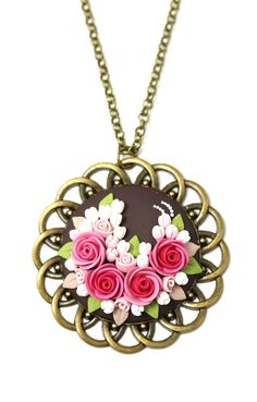 Floral pendant necklace Fashion jewelry Filigree Floral Pendant Cameo Сameo pendant Pink pendant Floral jewelry Applique USD) by KittenUmka Polymer Clay Necklace, Polymer Clay Pendant, Polymer Clay Flowers, Polymer Clay Crafts, Fashion Jewelry Necklaces, Unique Necklaces, Fashion Jewellery, Polymer Clay Embroidery, Pink Pendants