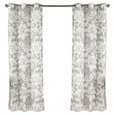 """Curtain with a floral motif.   Product: Set of 2 curtainsConstruction Material: PolyesterColor: Grey and whiteFeatures: Grommet designDimensions: 84"""" H x 40"""" D each"""