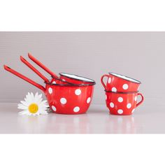 Red enamel cups and saucepans set ($90) ❤ liked on Polyvore featuring home, kitchen & dining, cookware, enamel cookware, enamel saucepan, enamel coated cookware and red cookware
