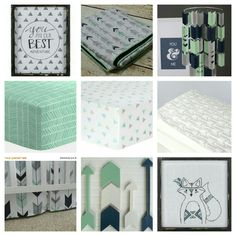 Fox, mint, navy blue, gray nursery theme. More