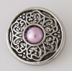 KB7748 Antiqued Silver w Lilac Pearl in Centerr