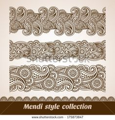 Vector set of floral pattern seamless borders, indian ornament, henna style