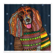American Water Spaniel Art Shower Curtain Dog by HeatherGallerArt, $90.00