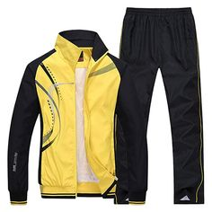 Enjoy exclusive for Modern Fantasy Men's Athletic Striped Tracksuit Joggers Running Sports Style Sweat Suits Set online - Alltoclothing Winter Hoodies, Mens Fashion Suits, Men's Fashion, Long Sleeve Sweater, Sportswear, Jackets, Clothes, Running Sports, Blue Yellow