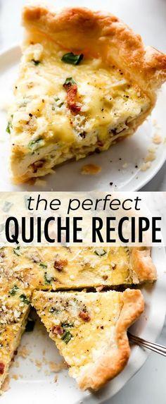 Learn how to make the perfect quiche recipe with homemade pie crust eggs heavy cream and your favorite add-ins like bacon ham hollandaise sauce Quiche Feta, Quiche Chorizo, Frittata, Egg Quiche, Bacon Quiche, Egg Recipes, Brunch Recipes, Cooking Recipes, Dinner Recipes