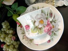 Elizabethan Footed Tea Cup - Fine Bone China Teacup and Saucer 8328. $15.95, via Etsy.