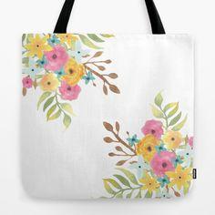 Floral Pink and Yellow Original Watercolor Tote Bag