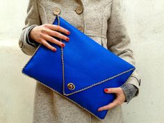 ELECTRIC BLUE handmade large leather clutch with by AnaKoutsi, $113.00