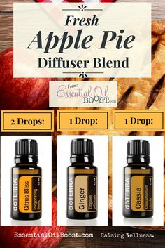 doTERRA Apple Pie Fall Diffuser Blend!! Add this blend of Essential Oils to your Diffuser & Your House Will Smell Like Fresh Apple Pie!! (And Fall!!)    www.EssentialOilBoost.com