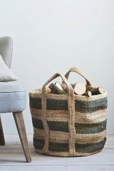 Jute Log Basket: Olive | Decorator's Notebook