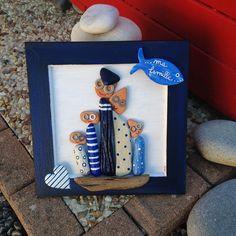 """""""Tableau de famille à la mer"""" en bois flotté : Décorations murales par les-toiles-de-mer-de-syl"""