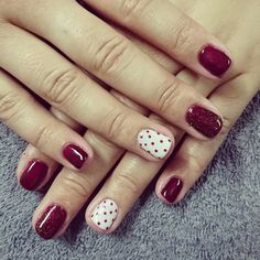 Burgandy red and white Nails with dots