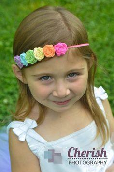 Felt flower garland headband pastel by muffintopsandtutus, $10.00