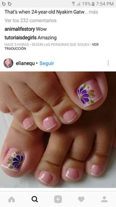 Pretty Toe Nails, Cute Toe Nails, Toe Nail Art, Feet Nail Design, New Nail Art Design, Cute Pedicure Designs, Toe Nail Designs, French Pedicure, Feet Nails