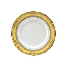 A scalloped edge, ornately decorated in gold or platinum, establishes an atmosphere of bonafide luxury for your finest culinary creations. Stately enough for royalty, congenial enough for an informal dinner. • Product Dimensions (in inches) : 7 (L) x 1(H) • Material Composition: PORCELAIN • Color: White / Gold • Country of Origin: CHINA • Care Instructions: Dishwasher Safe