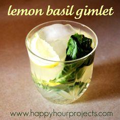 HOW TO MAKE: Lemon Basil Gimlet  Summer Cocktail -- Shake together 1-1/2 oz. vodka, 1-1/2 oz. basil simple syrup (water, sugar, basic leaves), and 2 oz. lemon juice.