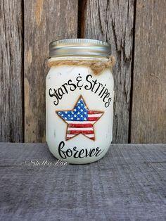 Stars and Stripes Forever, Patriotic Decor Mason Jar Art, Ball Mason Jars, Mason Jar Gifts, Wine Bottle Crafts, Jar Crafts, Wine Bottles, Half Gallon Mason Jars, Painting Glass Jars, Pickle Jars