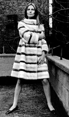Maud Adams in a fur coat by Ben Kahn, 1967