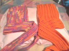 crocheted hooded scarves. Too bad it wasn't really cold enough to be used this year!