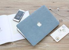 Macbook Case - Matt Leather Texture Case (Blue / Pink / Grey)