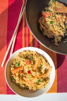 Great recipe for digestive health! Quinoa Stir-Fry with Sauerkraut #glutenfree #lowfodmap #IBS