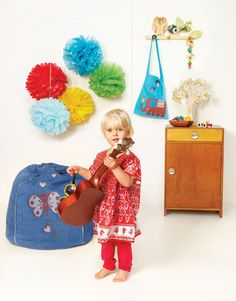 So cool in denim, love the Forest Butterfly denim bean bag!