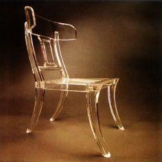 lucite klismos chair