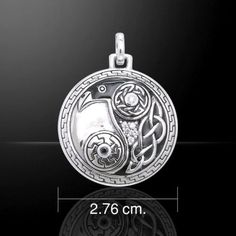 - Celtic Raven in Flight Pendant in .925 Sterling Silver with enamel & crystals. - Gorgeous details! Celtic knotwork, crystals, and black enamel form a Raven embedded in the Yin Yang symbol. Cross-cul