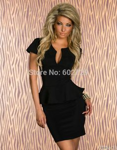 New Plus Size BodyCon Peplum Dress with Long Sleeves in Embossed